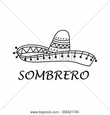 Banner Written By Sombrero On White Background. Mexican National Wide-brimmed Hat. An Integral Part