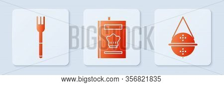 Set Cookbook, Fork And Ball Tea Strainer. White Square Button. Vector