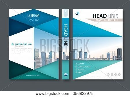 Blue Green Flyer Design Template Vector, Leaflet Cover Presentation Abstract Flat Background, Book C