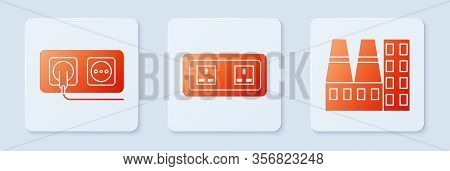 Set Electrical Outlet, Electrical Outlet And Power Station Plant And Factory. White Square Button. V