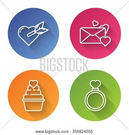 Set Line Amour With Heart And Arrow, Envelope With Heart, Wedding Cake With Heart And Wedding Rings.