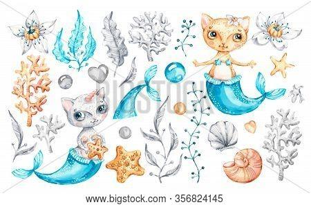 Cat Mermaid Unicorn Baby Cute Girl. Watercolor Nursery Cartoon Sea Animals, Marine Magic Life. Adora