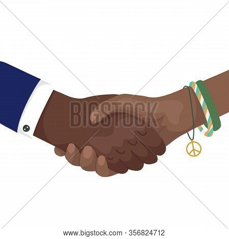 Vector Flat Illustration Of African Shaking Hands With Rainbow Bracelets And Businessman. Friendship