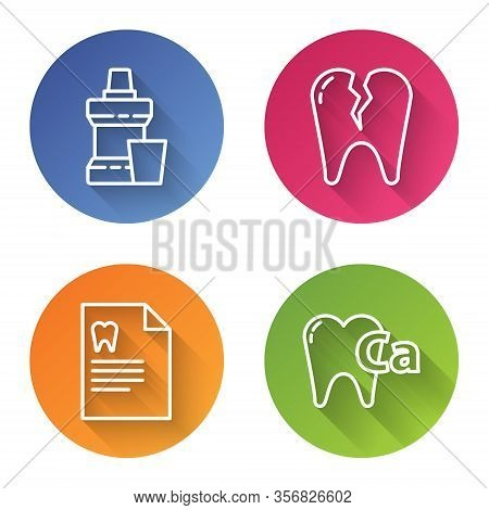 Set Line Mouthwash Plastic Bottle, Broken Tooth, Clipboard With Dental Card And Calcium For Tooth. C