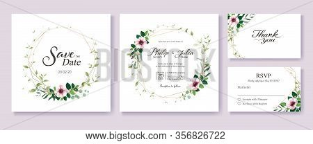 Greenery And Floral Wedding Invitation Card, Save The Date, Thank You, Rsvp Template.