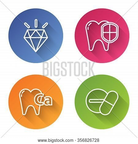 Set Line Diamond Teeth, Dental Protection, Calcium For Tooth And Medicine Pill Or Tablet. Color Circ
