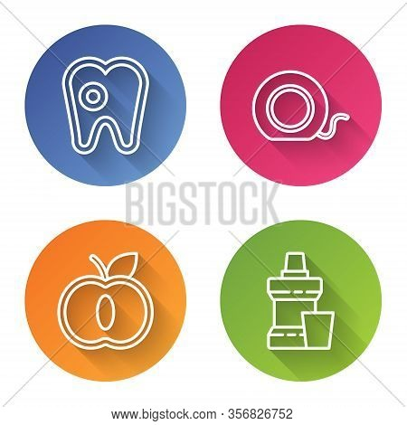 Set Line Tooth With Caries, Dental Floss, Apple And Mouthwash Plastic Bottle. Color Circle Button. V