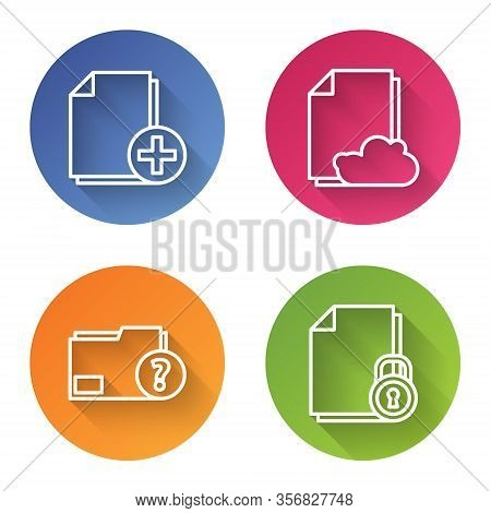 Set Line Add New File, Cloud Storage Text Document, Unknown Document Folder And Document And Lock. C