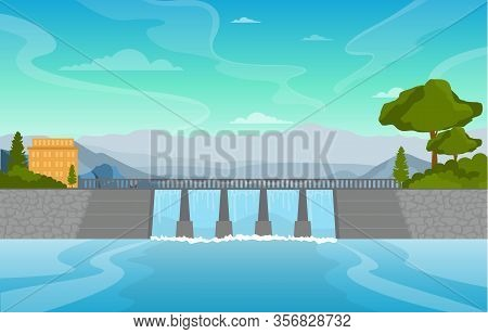 River Water Flowing Dam City Modern Building Landmark Illustration