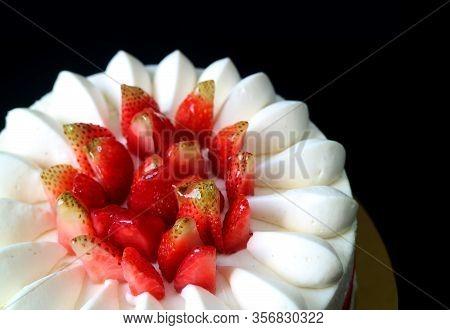 Closeup Mouthwatering Fresh Strawberry Vanilla Short Cake On Black Background
