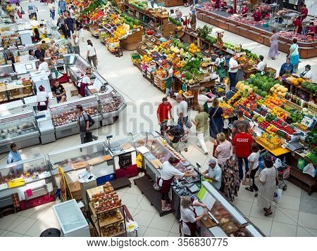 Voronezh, Russia - August 14, 2019: Trading Rows Of The Central Voronezh Market