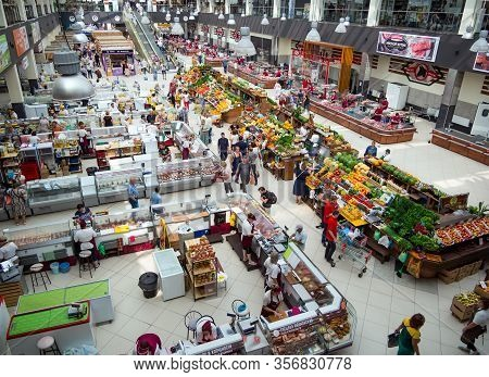 Voronezh, Russia - August 14, 2019: The Interior Of The Central Market Of The City Of Voronezh