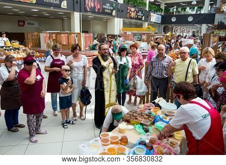 Voronezh, Russia - August 14, 2019: Honey Consecration Ceremony, Central Voronezh Market, Voronezh