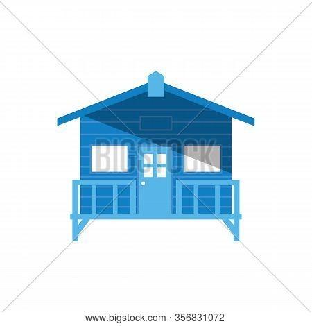 Summer Bath House Vector Illustration. Beach House Logo Or Label Template In Linear Style. Travel Ag