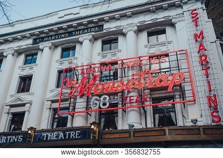 London, Uk - March 06, 2020: Mousetrap Neon Sign On The Facade Of St Martins Theatre In London, The