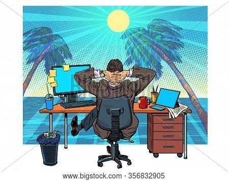 Quarantine Remote Work At Home. Dream Of Vacation And Travel. Pop Art Retro Vector Illustration Vint