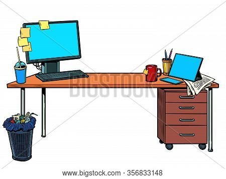 Office Desk With Computer. Pop Art Retro Vector Illustration Vintage Kitsch 50s 60s Style