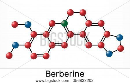Berberine C20h18no4, Herbal Alkaloid Molecule. Molecule Model. Illustration
