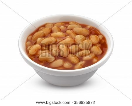 Baked Beans In Tomato Sauce Isolated On White Background