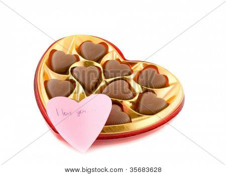 Chocolates in the form of heart. Isolation on white