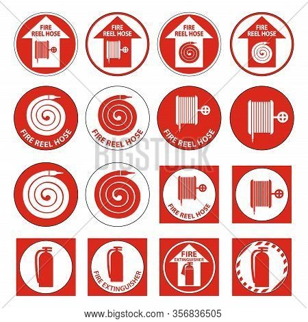 Set Fire Reel Hose Floor,extinguisher Sign On White Background