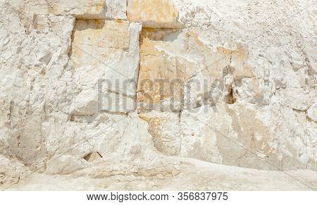 Chalk Mining In Sumy Region In Ukraine. Limestone Quarry. Open-cast Mining. Chalk Hills. Chalk Surfa