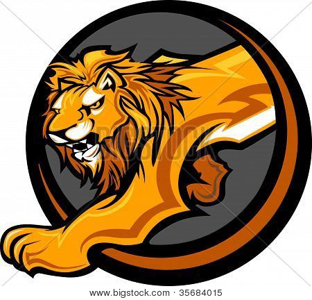 Graphic Mascot Vector Image of a Lion Body poster