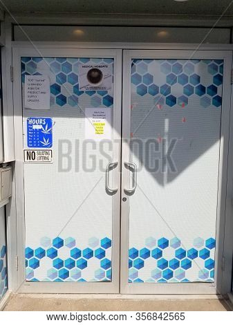 Chicago, Il March 1, 2020, Numed Marijuana Dispensary Front Entrance And Sign Exterior, Cannabis, Po