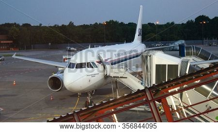 Berlin, Germany - Jul 03rd, 2015: Parked Aircraft Parked In The Airport Waiting For Passengers