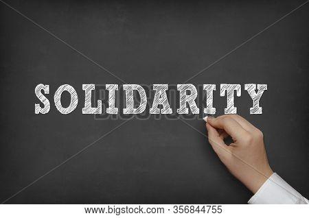 Hand With Chalk Writing Word Solidarity On Blackboard.