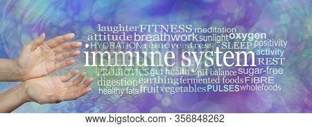 Immune System Strength Guidance Word Cloud -  Female Hands Gesturing Towards An Immune System Word C