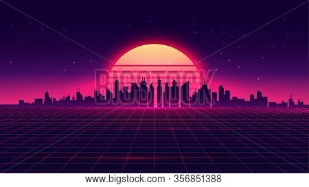 Retro Futuristic Synthwave Retrowave Styled Night Cityscape With Sunset On Background. Cover Or Bann