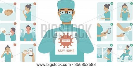 Coronavirus  Covid-19 Protection Tips. Doctor Character Holding Stop Covid-19 Sign. Coronavirus Aler