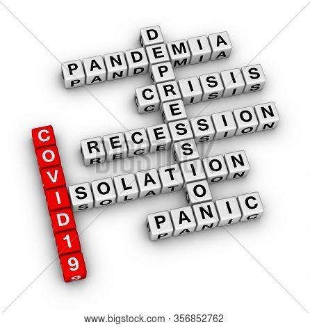 COVID19 Pandemi? global crisis. 3D illusration crossword puzzle