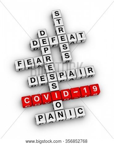 COVID-19 pandemic personal emotion. 3D illustration crossword puzzle