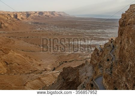 Amazing View Overlooking Israeli Desert Landscape From Masada National Monument