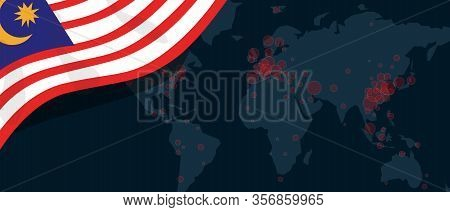 Corona Virus Covid-19 Pandemic Outbreak World Map Spread With Flag Of Malaysia Illustration