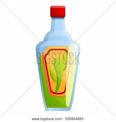 Tequila Bottle Icon. Cartoon Of Tequila Bottle Vector Icon For Web Design Isolated On White Backgrou