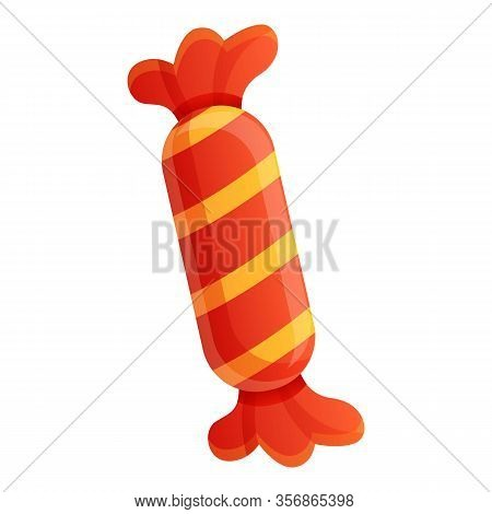 Caramel In Red Wrapper Icon. Cartoon Of Caramel In Red Wrapper Vector Icon For Web Design Isolated O