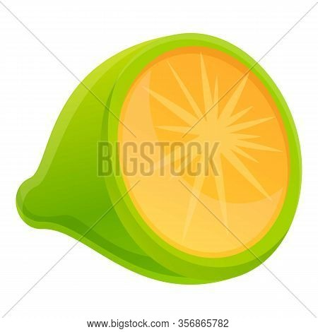 Half Lime Icon. Cartoon Of Half Lime Vector Icon For Web Design Isolated On White Background
