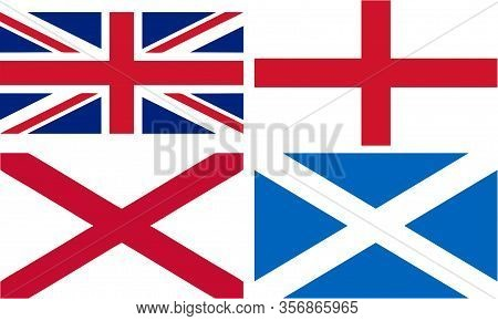 England, Scotland And Wales Flags To Form The Union Jack - Isolated Illustration