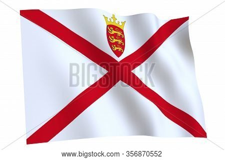 Jersey Flag, 3d Render. Flag Of Jersey Waving In The Wind, Isolated On White Background.
