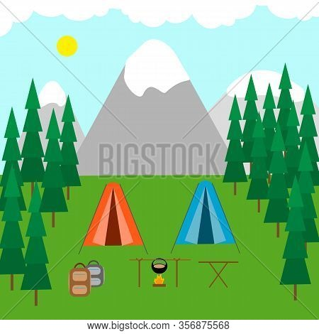 Tent Camp In The Forest, Mountains And Lake, Campfire. Camping, Campground, Outdoor Recreation Conce