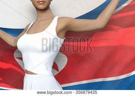 Pretty Woman Is Holding Democratic Peoples Republic Of Korea (north Korea) Flag In Her Hands Behind
