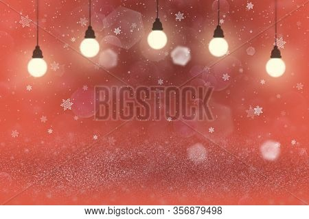 Cute Shining Abstract Background Glitter Lights With Light Bulbs And Falling Snow Flakes Fly Defocus
