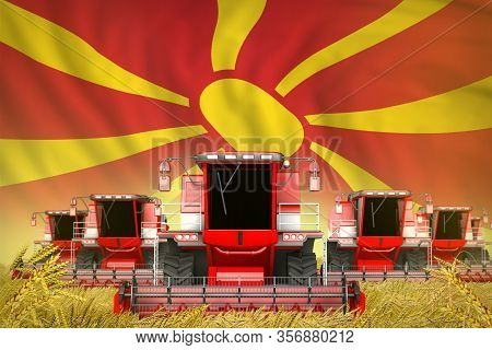 Industrial 3d Illustration Of A Lot Of Red Farming Combine Harvesters On Wheat Field With Macedonia