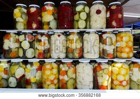 Stack Of Pickles In Stinging Bottles In Szeged