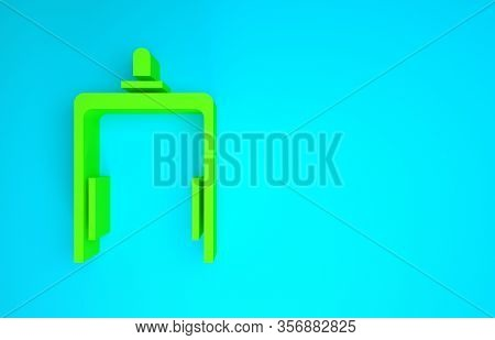 Green Metal Detector In Airport Icon Isolated On Blue Background. Airport Security Guard On Metal De