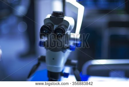 Selective Focus Of Ocular Eyepiece Lenses And Tube Of Binocular Microscope For Lab Technician In Lab