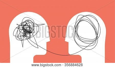 Two Humans Head Silhouette Psycho Therapy Concept. Therapist And Patient. Vector Illustration For Ps